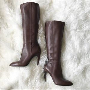 Via Spiga tall brown leather high heeled boots euc